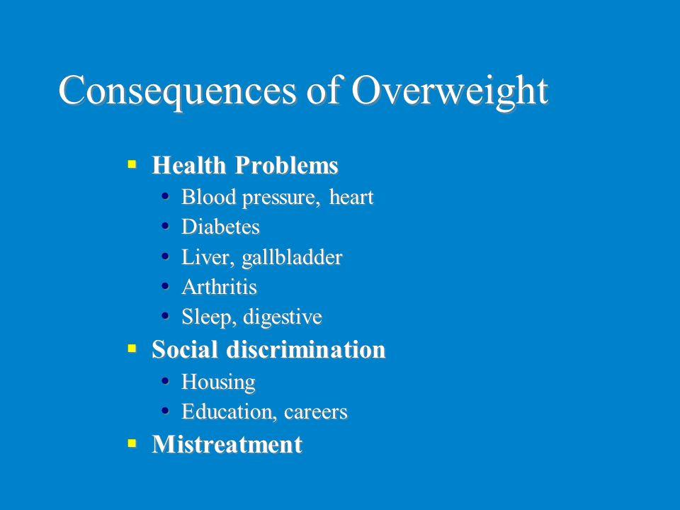 Consequences of Overweight  Health Problems  Blood pressure, heart  Diabetes  Liver, gallbladder  Arthritis  Sleep, digestive  Social discrimin