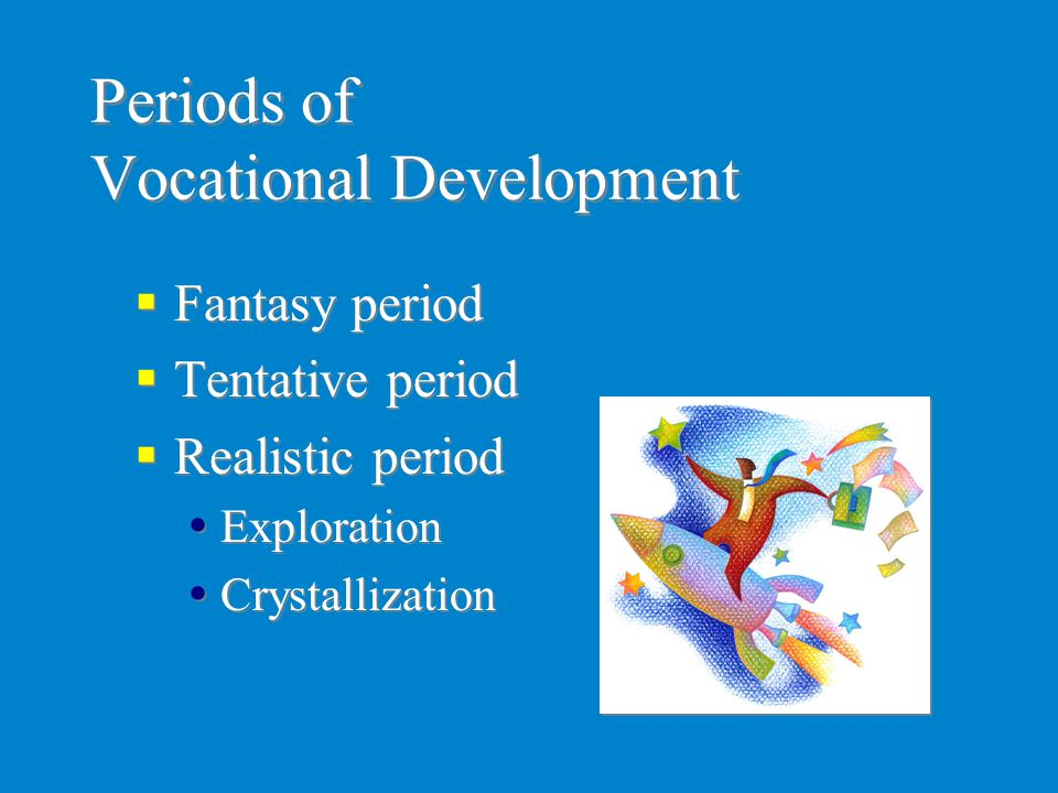 Periods of Vocational Development  Fantasy period  Tentative period  Realistic period  Exploration  Crystallization  Fantasy period  Tentative
