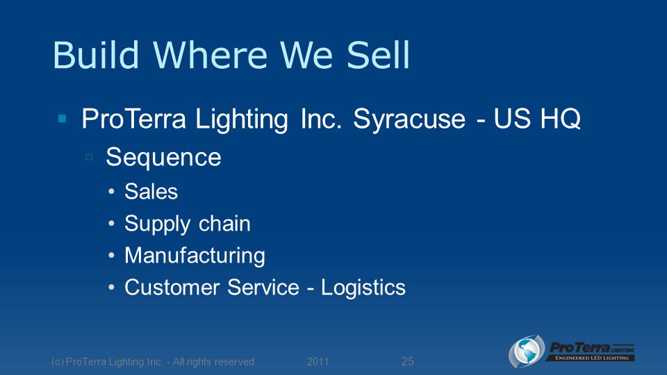 Build Where We Sell  ProTerra Lighting Inc.