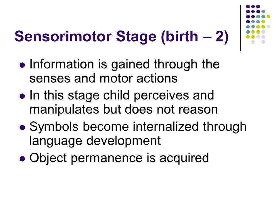 Sensorimotor Stage (birth – 2) Information is gained through the senses and motor actions In this stage child perceives and manipulates but does not reason Symbols become internalized through language development Object permanence is acquired