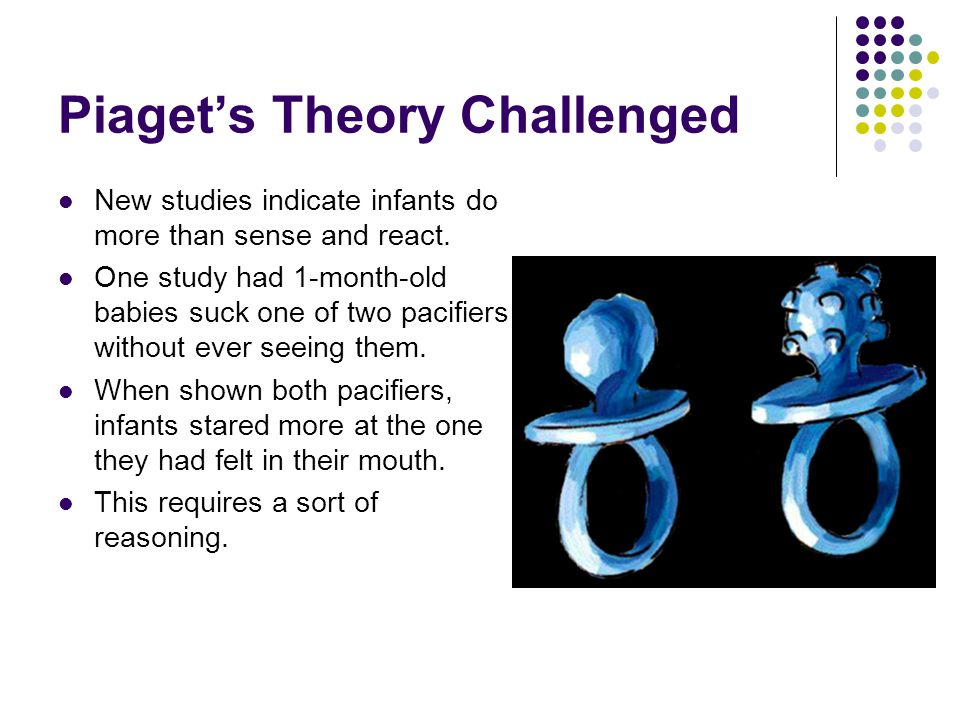 Piaget's Theory Challenged New studies indicate infants do more than sense and react.