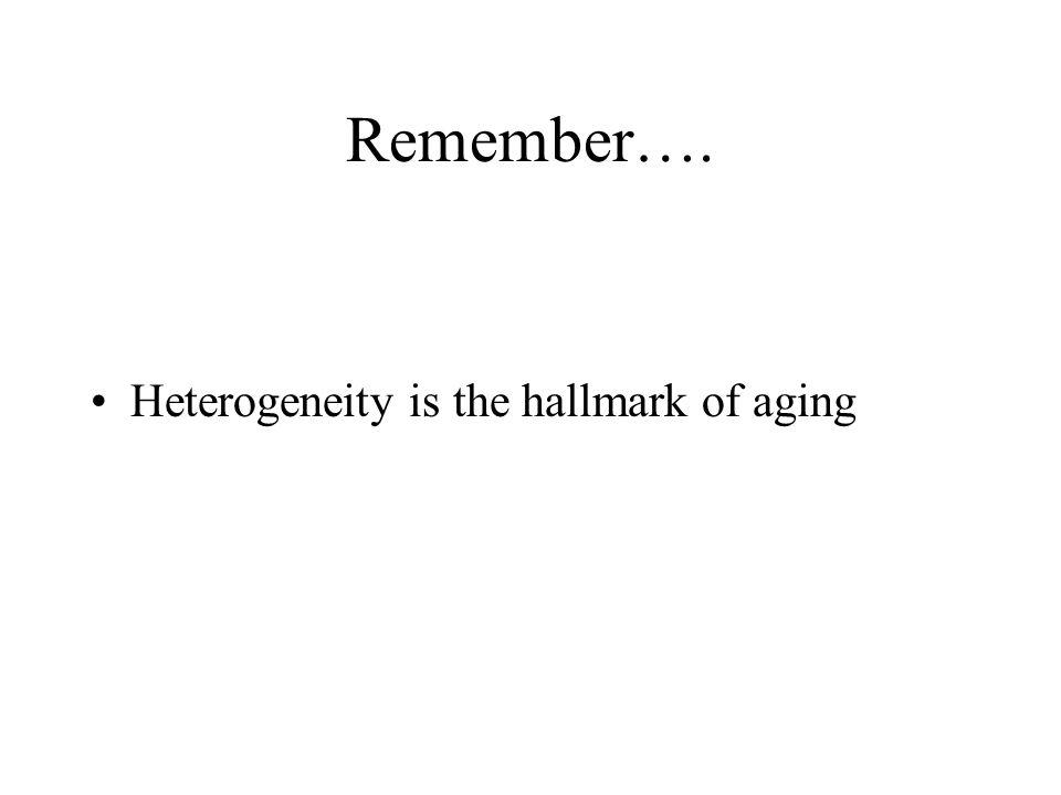Remember…. Heterogeneity is the hallmark of aging