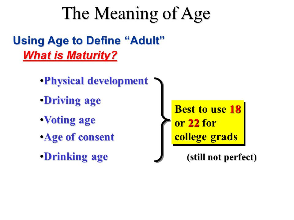 """The Meaning of Age Using Age to Define """"Adult"""" Physical developmentPhysical development Voting ageVoting age Driving ageDriving age Age of consentAge"""