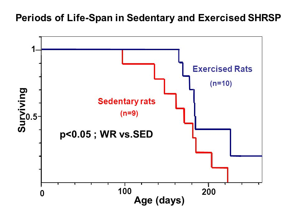 0.5 1 100 200 Age (days) Periods of Life-Span in Sedentary and Exercised SHRSP Surviving p<0.05 ; WR vs.SED Sedentary rats (n=9) Exercised Rats (n=10)