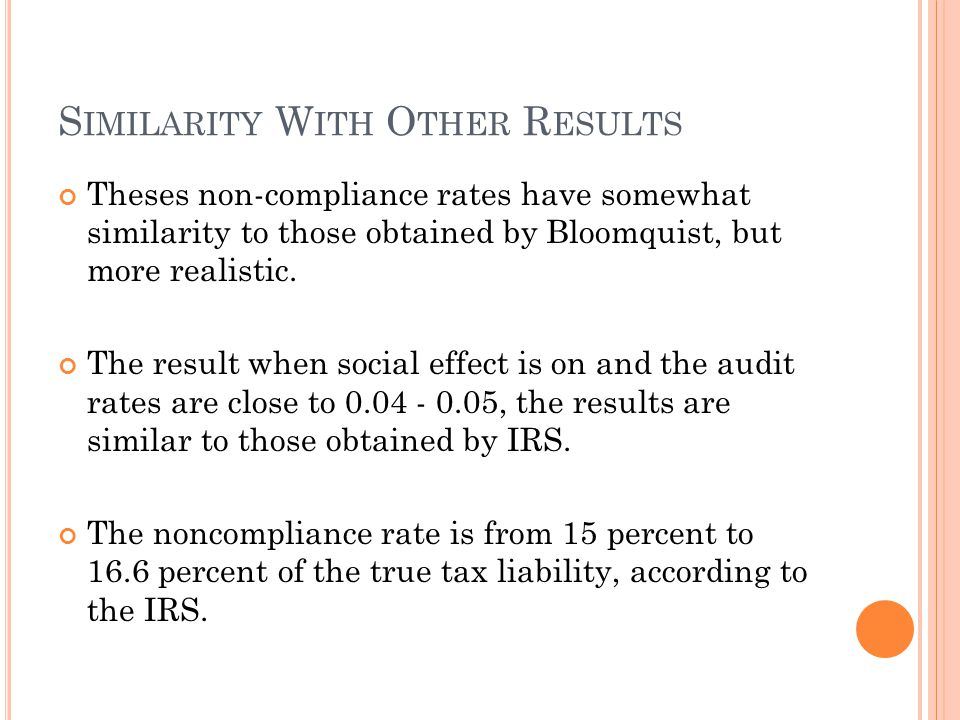 S IMILARITY W ITH O THER R ESULTS Theses non-compliance rates have somewhat similarity to those obtained by Bloomquist, but more realistic.