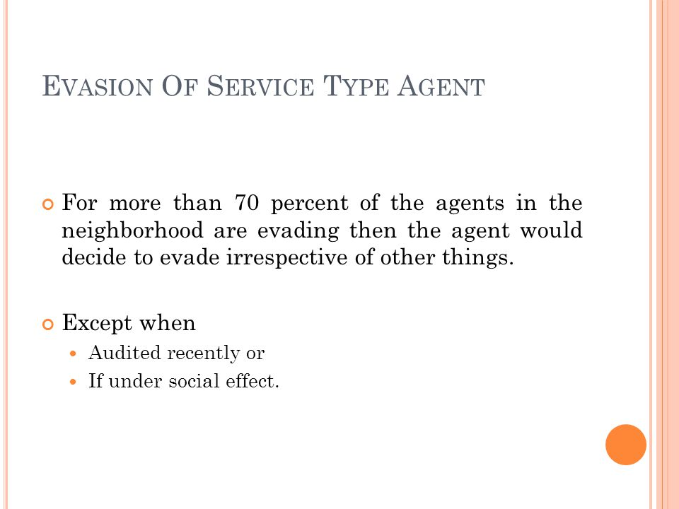 E VASION O F S ERVICE T YPE A GENT For more than 70 percent of the agents in the neighborhood are evading then the agent would decide to evade irrespective of other things.