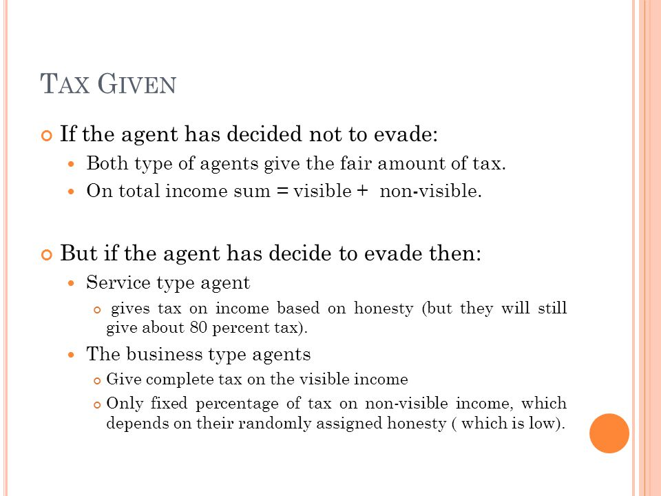T AX G IVEN If the agent has decided not to evade: Both type of agents give the fair amount of tax. On total income sum = visible + non-visible. But i