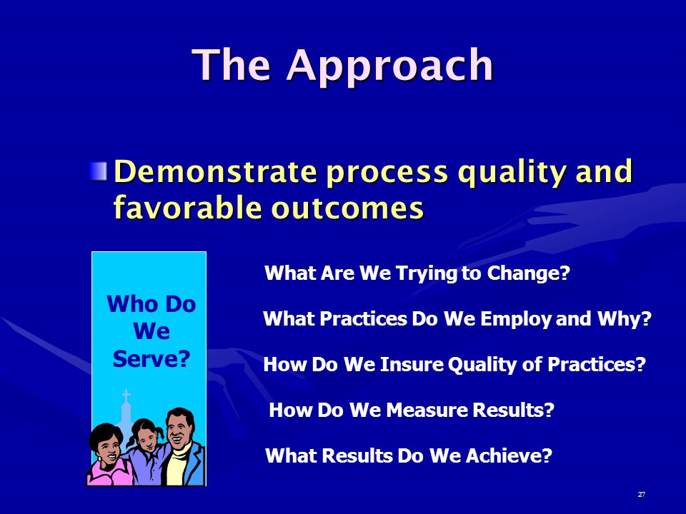 27 The Approach Demonstrate process quality and favorable outcomes Who Do We Serve.