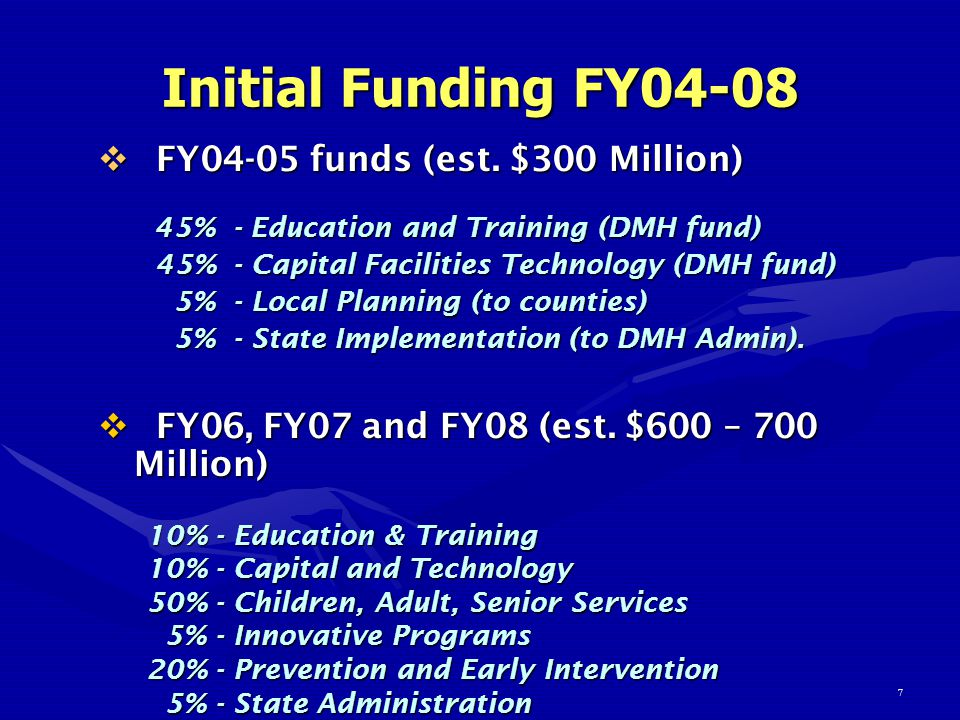 7 Initial Funding FY04-08  FY04-05 funds (est.