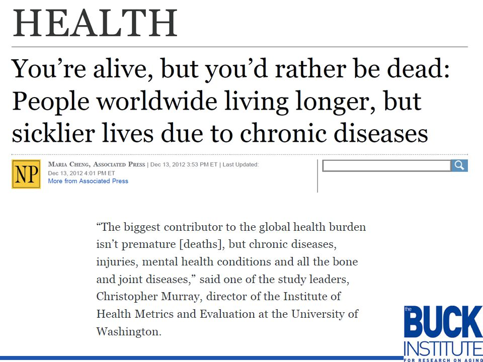 The Buck Institute – A Healthspan Initiative EDUCATION PREVENTION TREATING CHRONIC DISEASES HEALTHY LIFESTYLES INTERVENTIONS TO EXTEND HEALTHSPAN