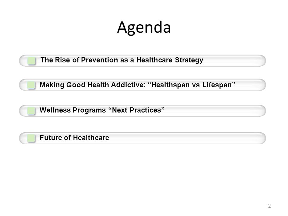 "Agenda 2 The Rise of Prevention as a Healthcare Strategy Making Good Health Addictive: ""Healthspan vs Lifespan"" Wellness Programs ""Next Practices"" Fut"