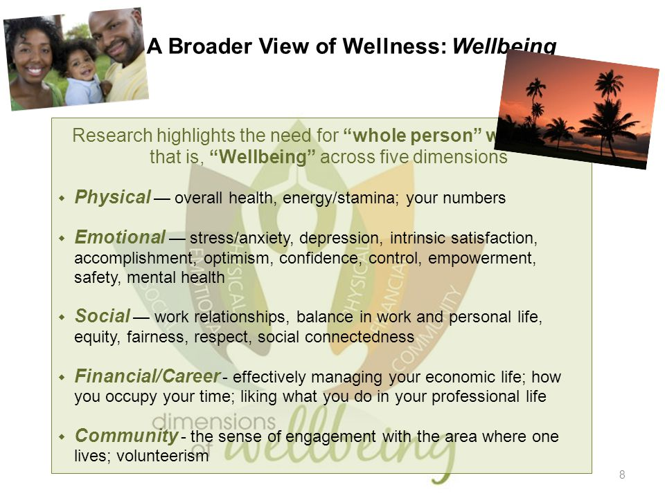 "8 A Broader View of Wellness: Wellbeing Research highlights the need for ""whole person"" wellness, that is, ""Wellbeing"" across five dimensions  Physic"