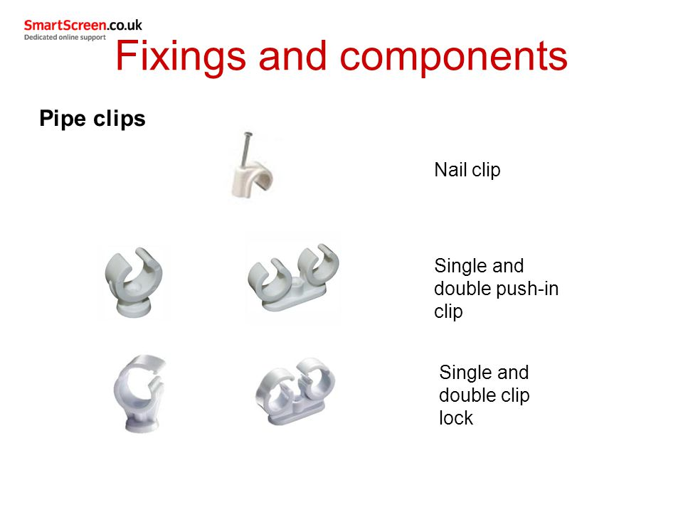 Pipe clips Nail clip Single and double push-in clip Single and double clip lock