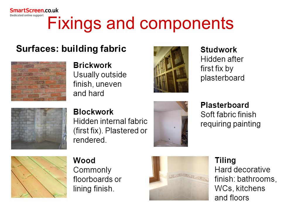Fixings and components Surfaces: building fabric Brickwork Usually outside finish, uneven and hard Blockwork Hidden internal fabric (first fix).
