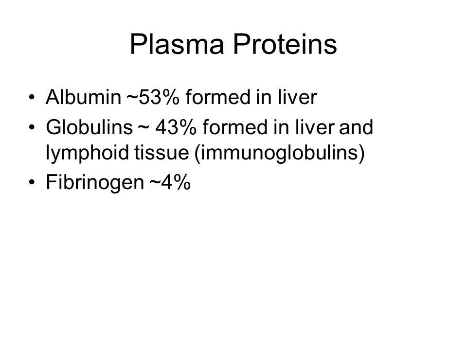 Plasma Proteins Albumin ~53% formed in liver Globulins ~ 43% formed in liver and lymphoid tissue (immunoglobulins) Fibrinogen ~4%