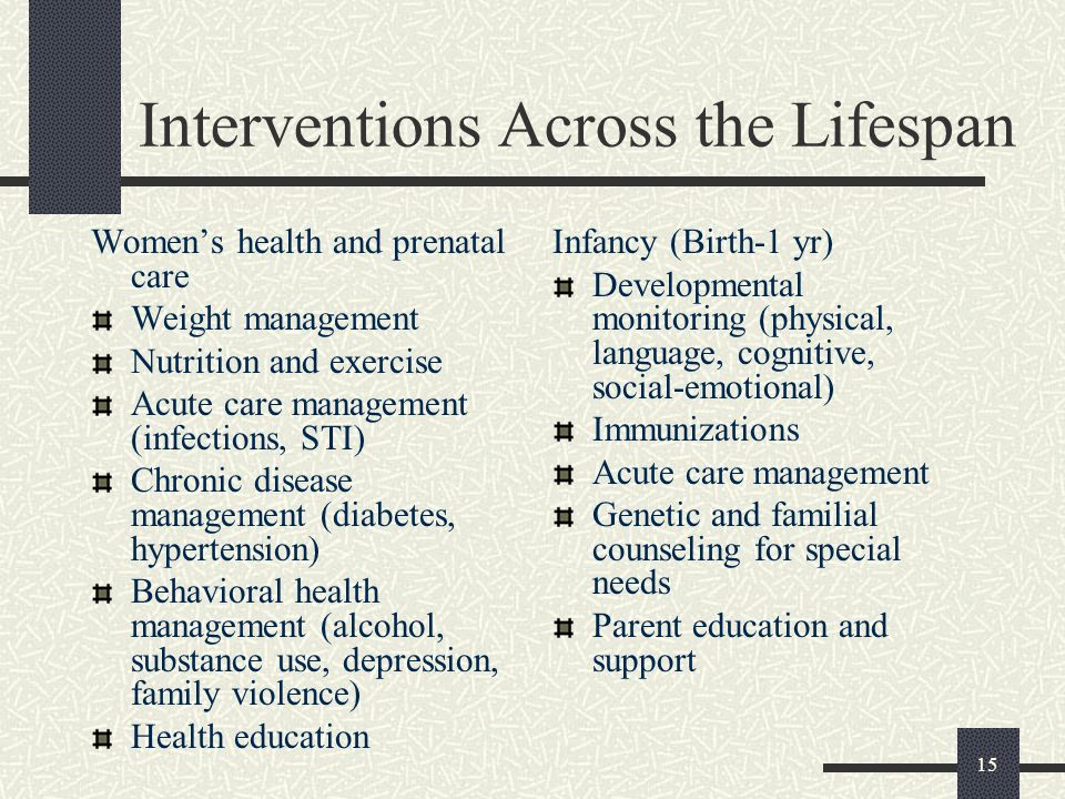 15 Interventions Across the Lifespan Women's health and prenatal care Weight management Nutrition and exercise Acute care management (infections, STI) Chronic disease management (diabetes, hypertension) Behavioral health management (alcohol, substance use, depression, family violence) Health education Infancy (Birth-1 yr) Developmental monitoring (physical, language, cognitive, social-emotional) Immunizations Acute care management Genetic and familial counseling for special needs Parent education and support