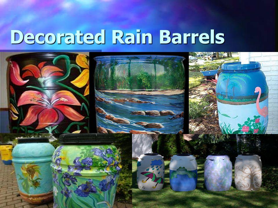 The Rain Savers! Decorated Rain Barrels