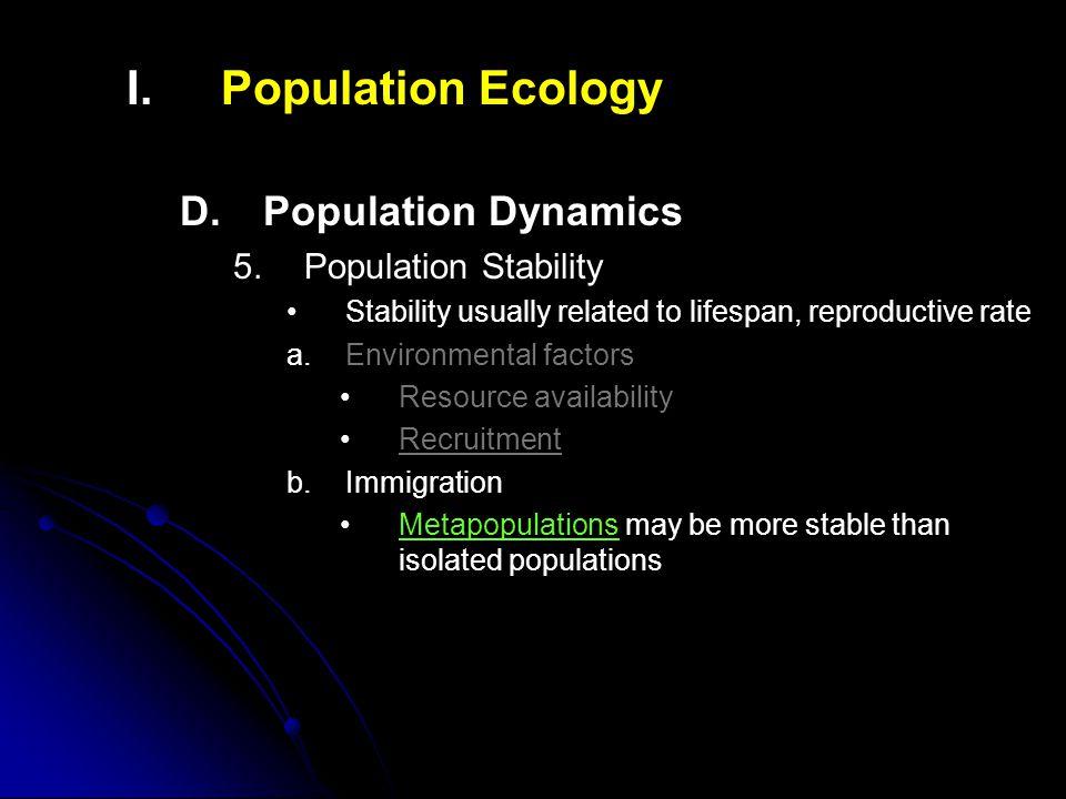 I.I.Population Ecology D. D.Population Dynamics 5.