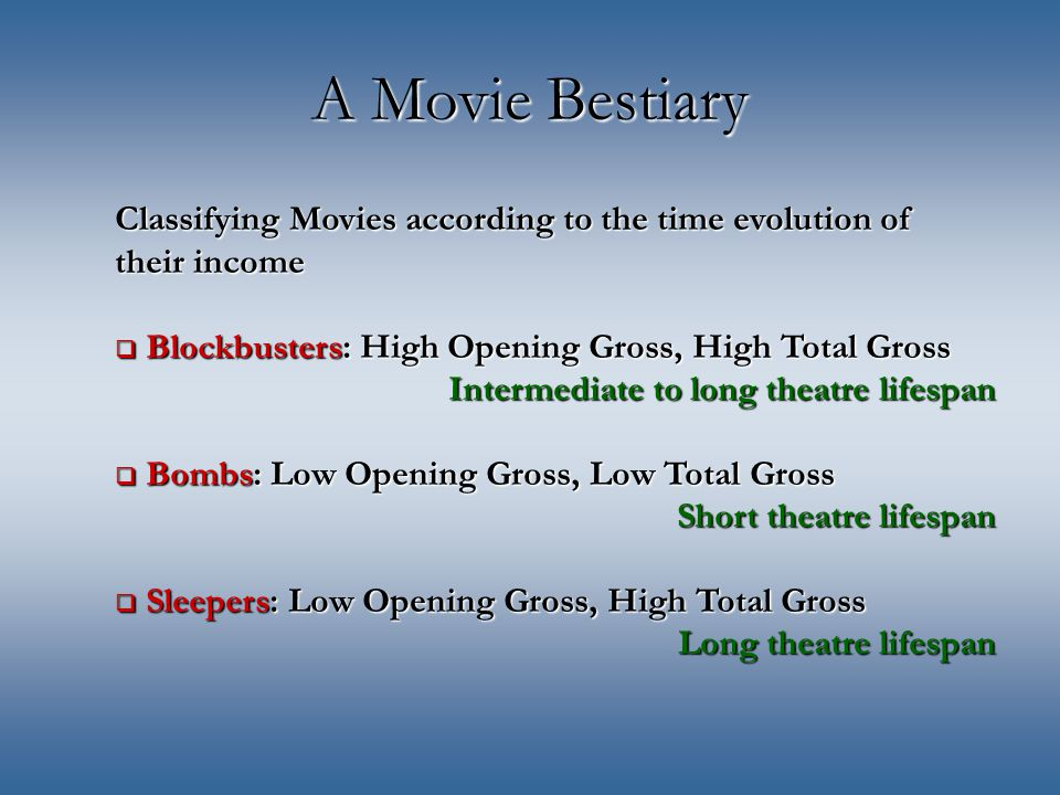 A Movie Bestiary Classifying Movies according to the time evolution of their income  Blockbusters: High Opening Gross, High Total Gross Intermediate to long theatre lifespan  Bombs: Low Opening Gross, Low Total Gross Short theatre lifespan  Sleepers: Low Opening Gross, High Total Gross Long theatre lifespan