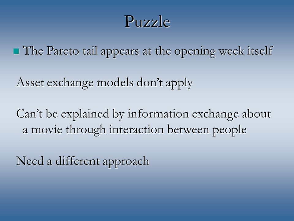 Puzzle The Pareto tail appears at the opening week itself Asset exchange models don't apply Can't be explained by information exchange about a movie through interaction between people Need a different approach The Pareto tail appears at the opening week itself Asset exchange models don't apply Can't be explained by information exchange about a movie through interaction between people Need a different approach