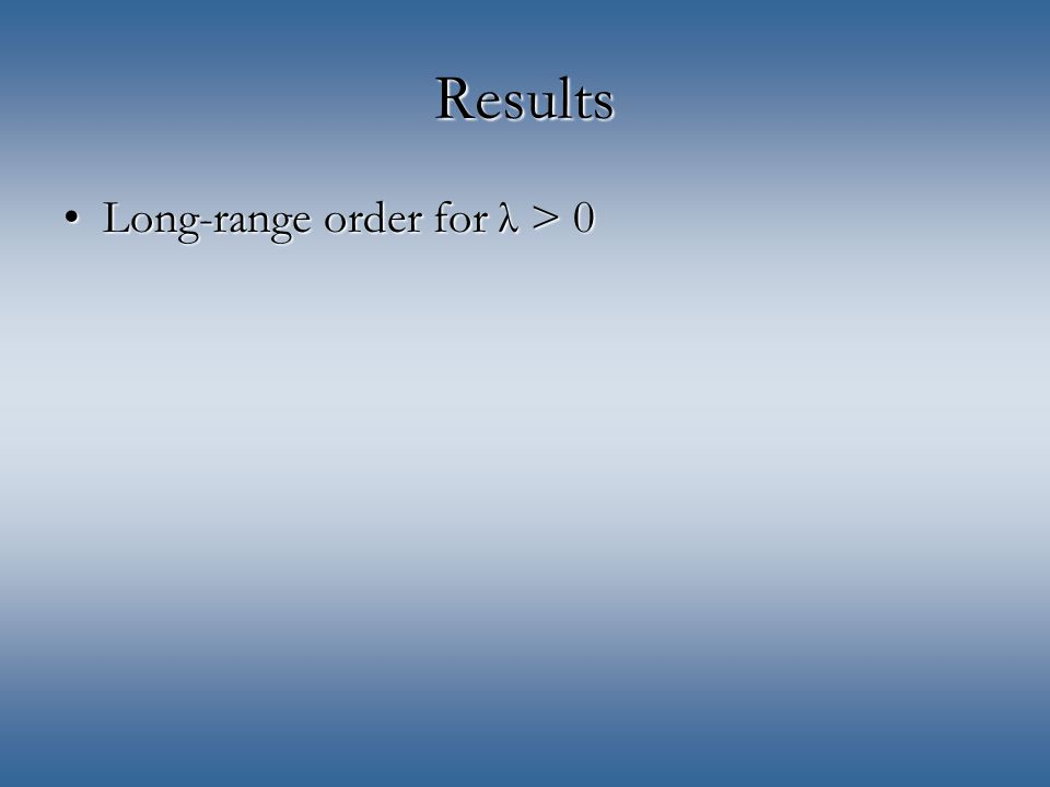 Results Long-range order for λ > 0Long-range order for λ > 0