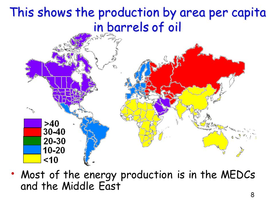 9 Notice that this energy production does not include wood or biomass fuels Many people in LEDCs rely on wood to supply there energy needs.