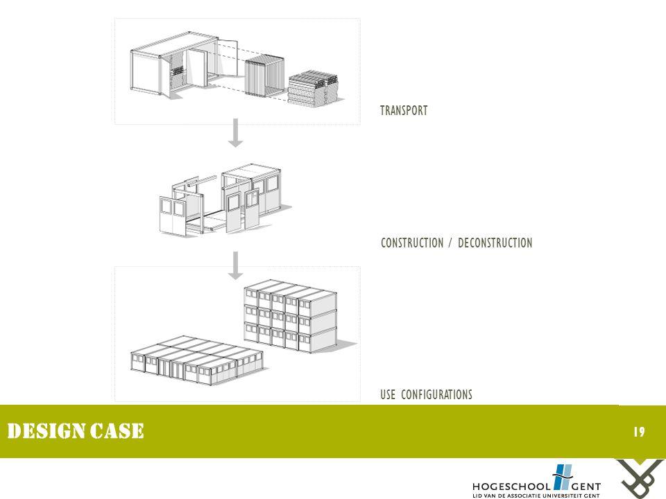Design case TRANSPORT CONSTRUCTION / DECONSTRUCTION USE CONFIGURATIONS 19
