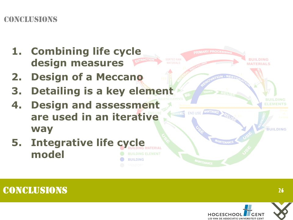 26 CONCLUSIONS 1.Combining life cycle design measures 2.Design of a Meccano 3.Detailing is a key element 4.Design and assessment are used in an iterative way 5.Integrative life cycle model Conclusions