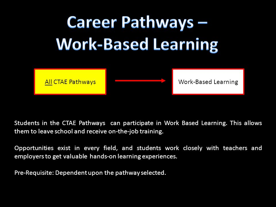 Work-Based Learning Students in the CTAE Pathways can participate in Work Based Learning. This allows them to leave school and receive on-the-job trai