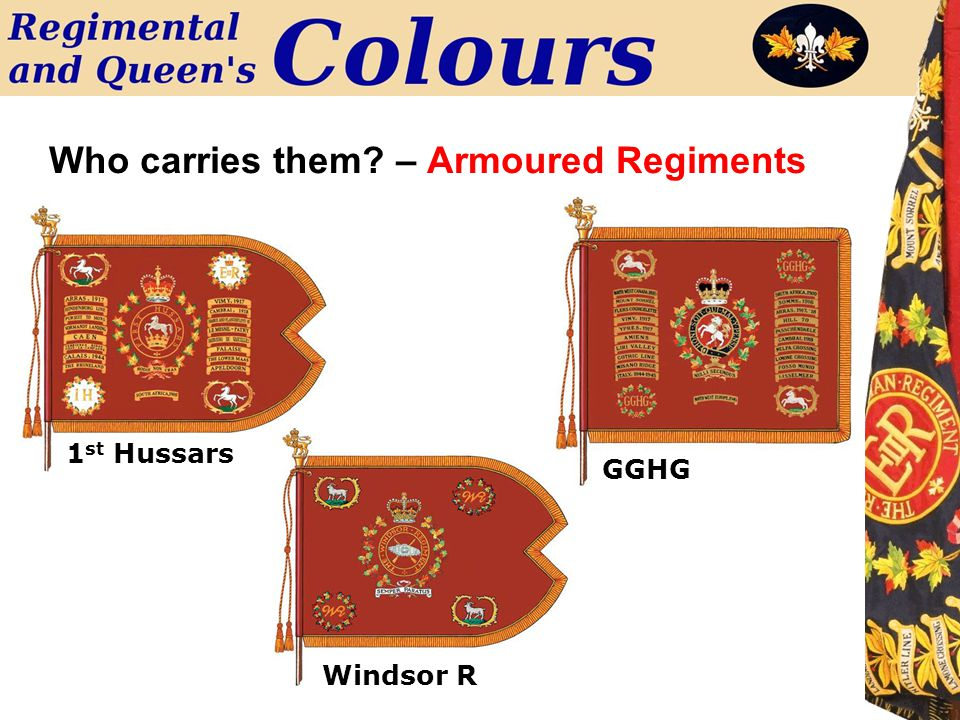 Who carries them? – Armoured Regiments GGHG 1 st Hussars Windsor R
