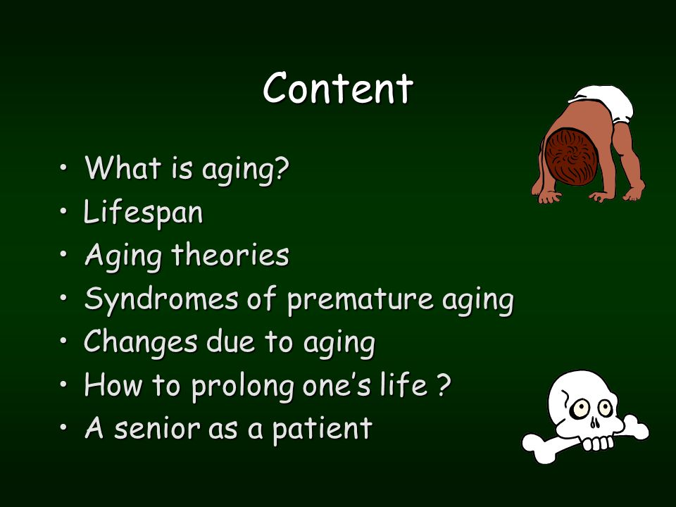 Syndromes of premature ageing 5 Down's syndrome (trisomy of the 21th chromosome – excess of hydroxyl radicals)Down's syndrome (trisomy of the 21th chromosome – excess of hydroxyl radicals) Diabetes mellitus (pentosidin linkages, cross link theory)Diabetes mellitus (pentosidin linkages, cross link theory)