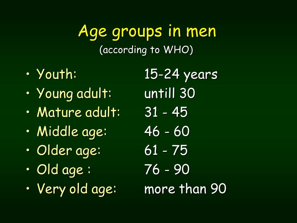 Age groups in men (according to WHO) Age groups in men (according to WHO) Youth: 15-24 yearsYouth: 15-24 years Young adult: untill 30Young adult: untill 30 Mature adult: 31 - 45Mature adult: 31 - 45 Middle age:46 - 60Middle age:46 - 60 Older age: 61 - 75Older age: 61 - 75 Old age : 76 - 90Old age : 76 - 90 Very old age: more than 90Very old age: more than 90