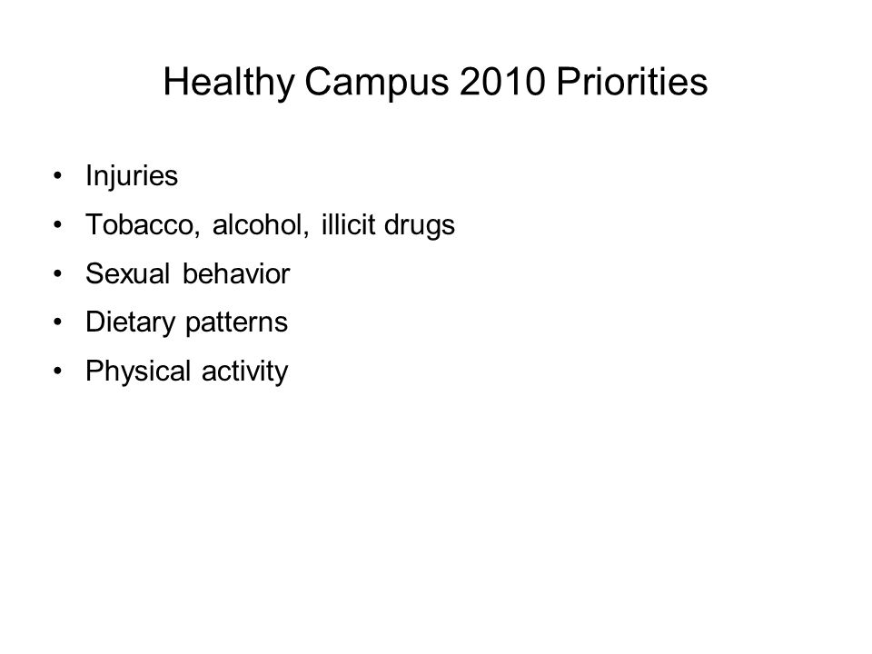 Healthy Campus 2010 Priorities Injuries Tobacco, alcohol, illicit drugs Sexual behavior Dietary patterns Physical activity