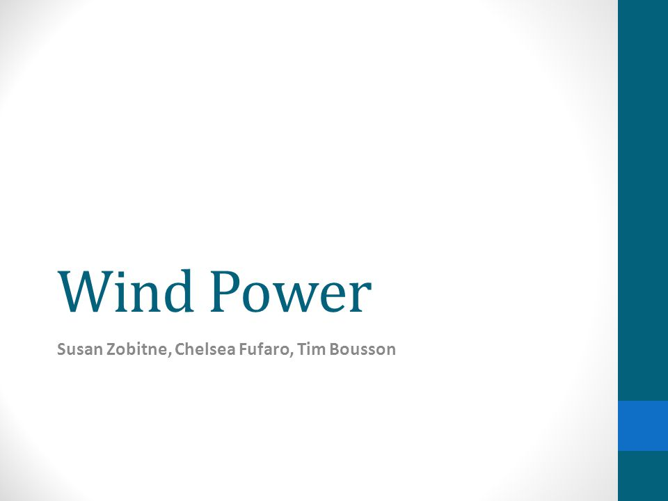 Introduction Wind power - power obtained by harnessing the energy of the wind Wind farms – an area of land with a group of energy producing windmills or wind turbines Windmill – a building with sails/vanes in the wind and generate power to grind grain into flower Wind turbine – also referred to as a wind power plant, a device that converts kinetic energy from the wind into electric current