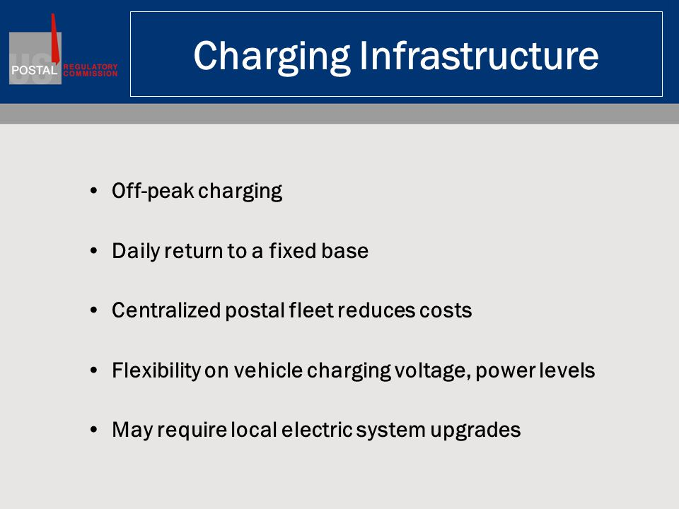 Charging Infrastructure Off-peak charging Daily return to a fixed base Centralized postal fleet reduces costs Flexibility on vehicle charging voltage,