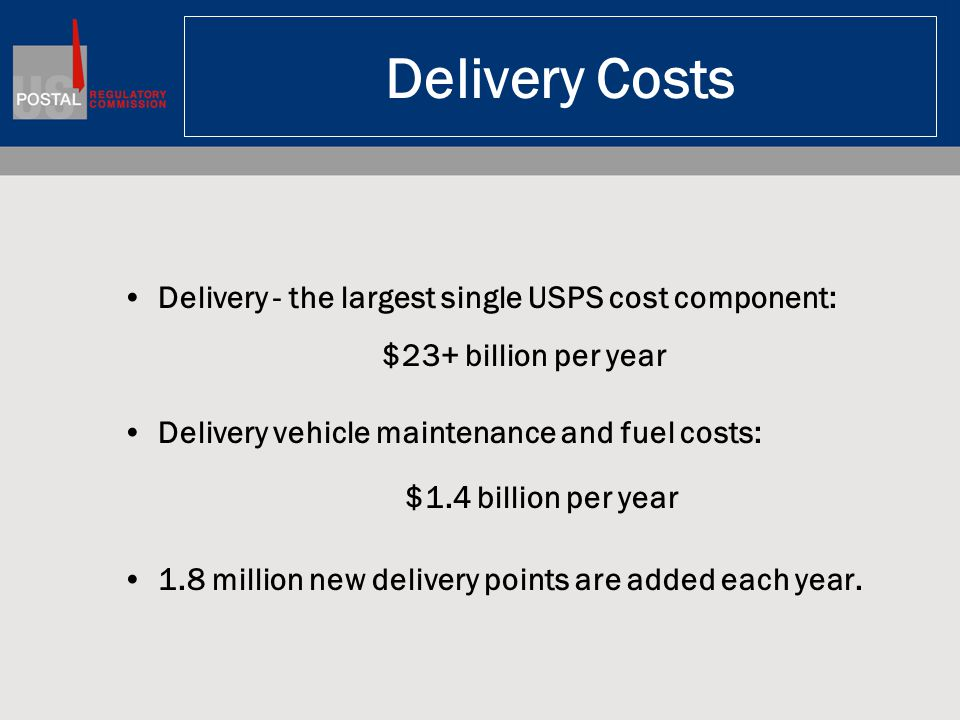 Delivery Costs Delivery - the largest single USPS cost component: $23+ billion per year Delivery vehicle maintenance and fuel costs: $1.4 billion per year 1.8 million new delivery points are added each year.