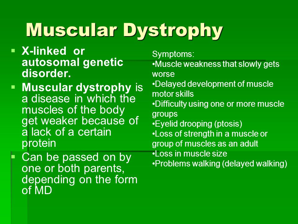 Muscular Dystrophy   X-linked or autosomal genetic disorder.   Muscular dystrophy is a disease in which the muscles of the body get weaker because