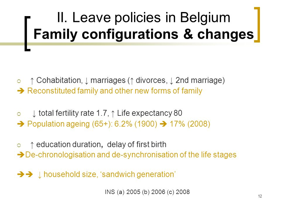 Amandine Masuy October 200812 II. Leave policies in Belgium Family configurations & changes  ↑ Cohabitation, ↓ marriages (↑ divorces, ↓ 2nd marriage)