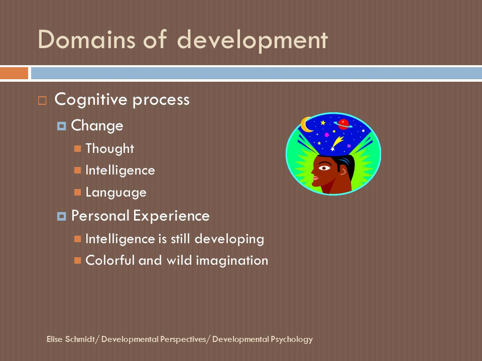 Domains of development  Cognitive process  Change Thought Intelligence Language  Personal Experience Intelligence is still developing Colorful and