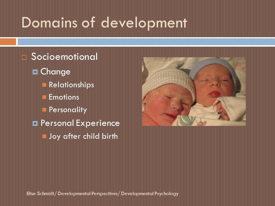 Domains of development  Socioemotional  Change Relationships Emotions Personality  Personal Experience Joy after child birth Elise Schmidt/ Develop