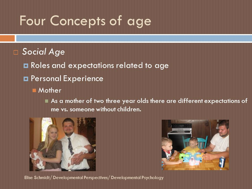 Four Concepts of age Elise Schmidt/ Developmental Perspectives/ Developmental Psychology  Social Age  Roles and expectations related to age  Person