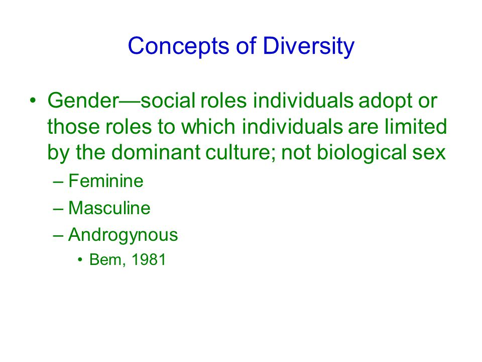 Concepts of Diversity Gender—social roles individuals adopt or those roles to which individuals are limited by the dominant culture; not biological sex –Feminine –Masculine –Androgynous Bem, 1981