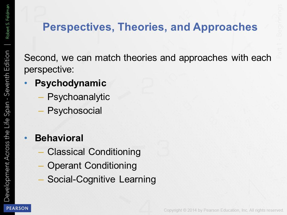 Perspectives, Theories, and Approaches Second, we can match theories and approaches with each perspective: Psychodynamic –Psychoanalytic –Psychosocial Behavioral –Classical Conditioning –Operant Conditioning –Social-Cognitive Learning