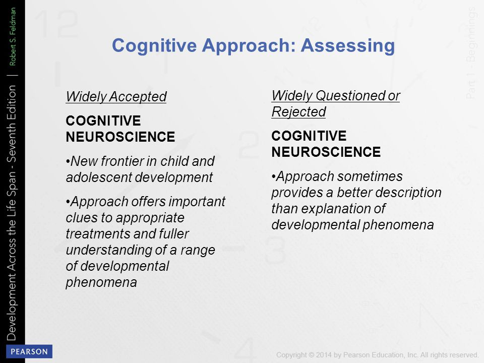Cognitive Approach: Assessing Widely Accepted COGNITIVE NEUROSCIENCE New frontier in child and adolescent development Approach offers important clues to appropriate treatments and fuller understanding of a range of developmental phenomena Widely Questioned or Rejected COGNITIVE NEUROSCIENCE Approach sometimes provides a better description than explanation of developmental phenomena