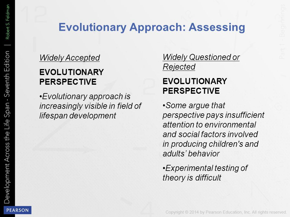Evolutionary Approach: Assessing Widely Accepted EVOLUTIONARY PERSPECTIVE Evolutionary approach is increasingly visible in field of lifespan development Widely Questioned or Rejected EVOLUTIONARY PERSPECTIVE Some argue that perspective pays insufficient attention to environmental and social factors involved in producing children s and adults' behavior Experimental testing of theory is difficult