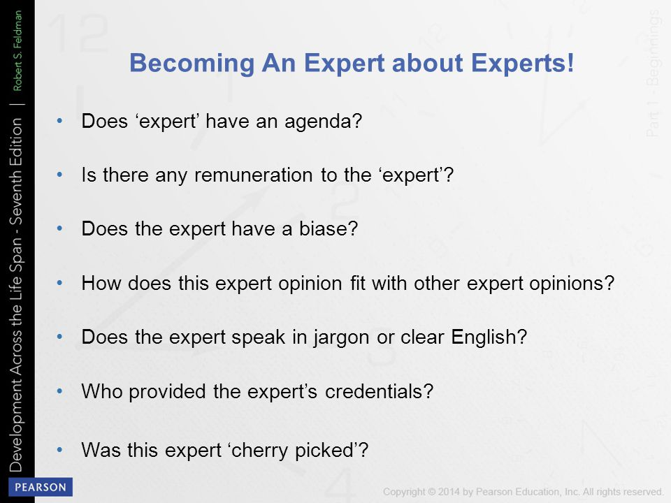 Becoming An Expert about Experts.Does 'expert' have an agenda.