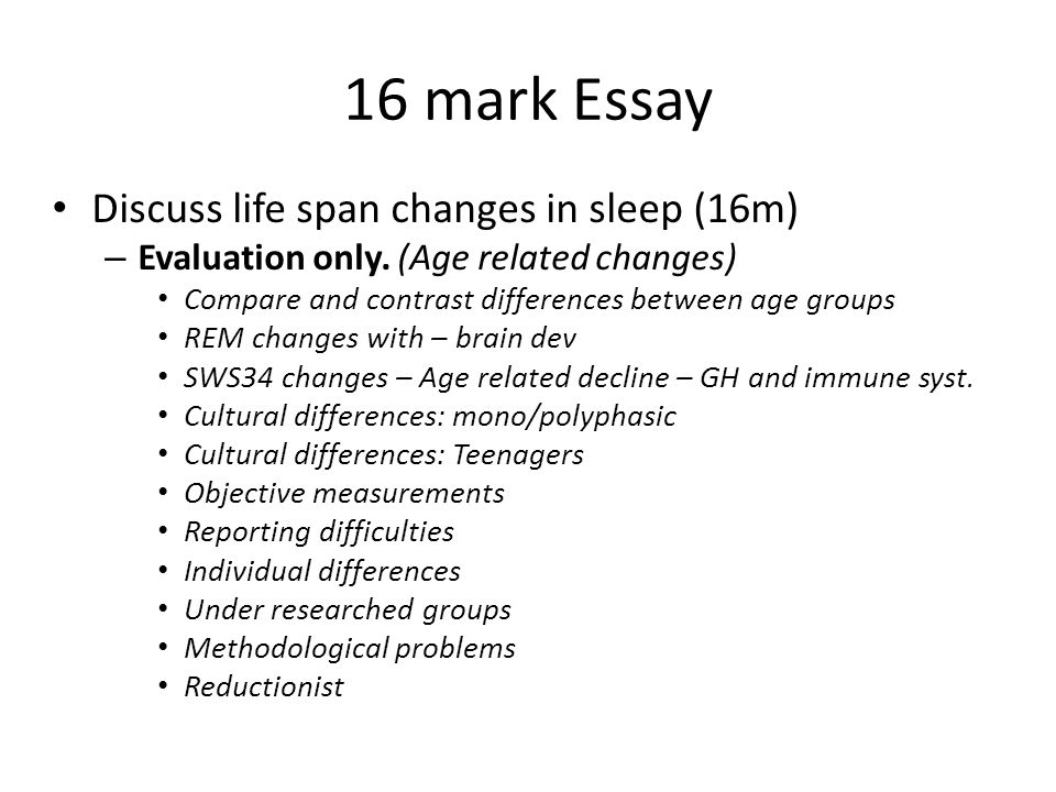16 mark Essay Discuss life span changes in sleep (16m) – Evaluation only.