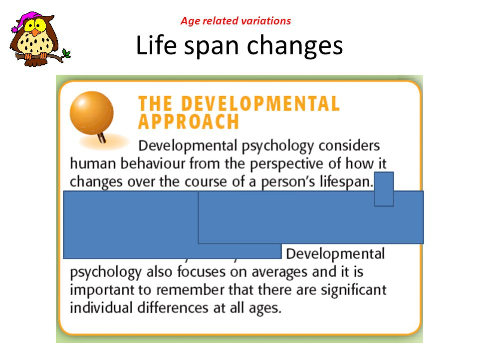 Life span changes Age related variations
