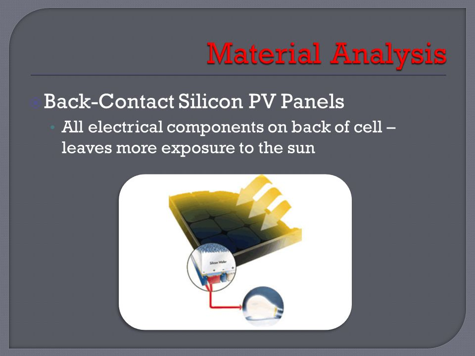  Back-Contact Silicon PV Panels All electrical components on back of cell – leaves more exposure to the sun