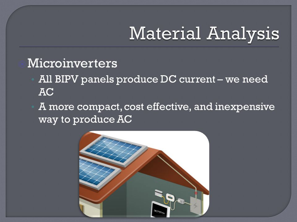  Microinverters All BIPV panels produce DC current – we need AC A more compact, cost effective, and inexpensive way to produce AC